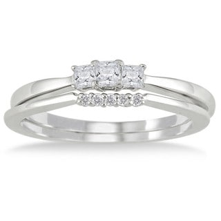 10k White Gold 1/3ct TDW Princess-cut Diamond Bridal Ring Set (I-J, I1-I2)