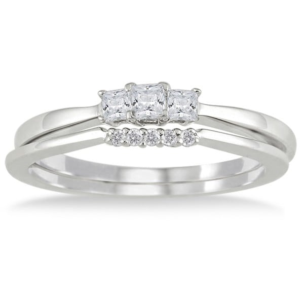 Marquee Jewels 10k White Gold 1/3ct TDW Princess-cut Diamond Bridal Ring Set (I-J, I1-I2)
