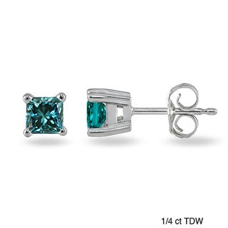 14k White Gold 1/4ct or 3/8ct Blue Diamond Princess Stud Earrings