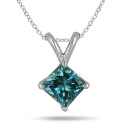 10k White Gold 1/2ct TDW Blue Diamond Necklace