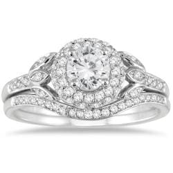 10k White Gold 1ct TDW White Diamond Antique Bridal Set (I-J, I1-I2)