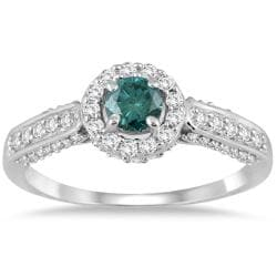 10k White Gold 7/8ct TDW Blue and White Diamond Halo Ring (I-J,I1-I2)