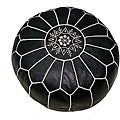 Black Leather Ottoman White Hand Stitched (Morocco)