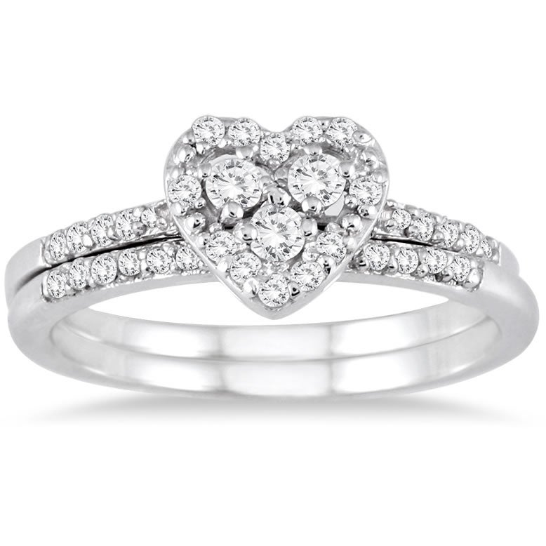 Marquee Jewels 10k White Gold 3/8ct TDW Diamond Heart Bridal Ring Set