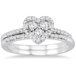 10k White Gold 3/8ct TDW White Diamond Halo Heart Bridal Ring Set (I-J, I1-I2)