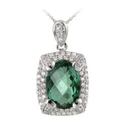 Glitzy Rocks Rhodiumplated 7.5ct TGW Lab Created Green Quartz and Cubic Zirconia Accent Necklace