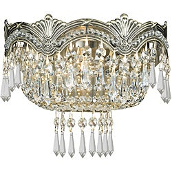 Crystorama Majestic Historic Brass 2-Light Wall Sconce with Hand-Polished Crystals