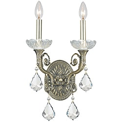 Crystorama Majestic Historic Brass 2-Light Wall Sconce