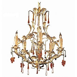 Crystorama Ritz Gold Leaf 5-light Chandelier