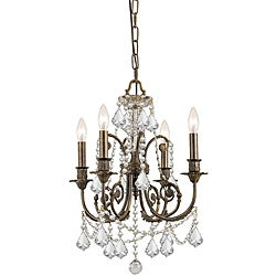 Crystorama Regis English Traditional Bronze Four-Light Chandelier