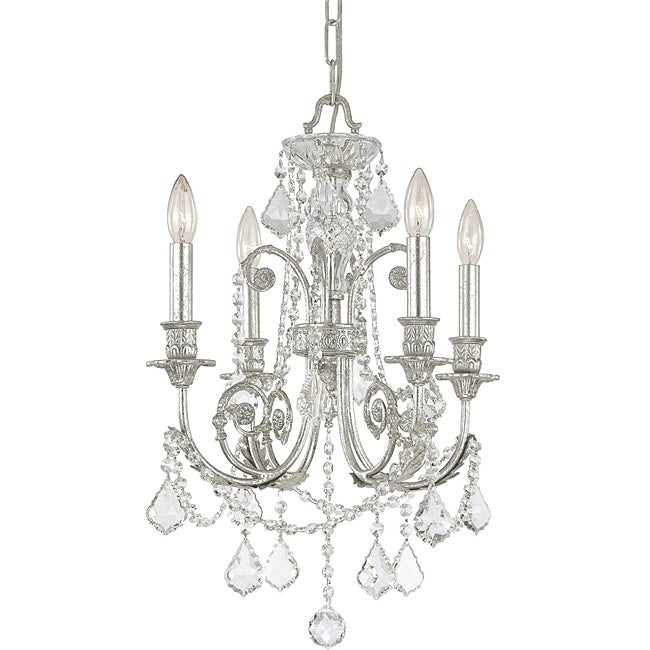 Crystorama Regis Collection 4-light Olde Silver Chandelier