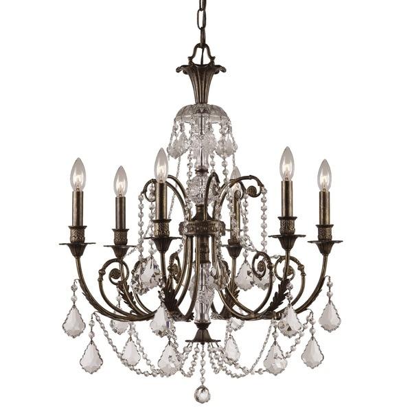 Crystorama Regis English Bronze Six-Light Crystal Chandelier
