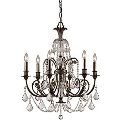 Crystorama Regis English Bronze Six-Light Crystal Chandelier
