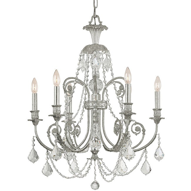 Crystorama Regis Collection 6-light Olde Silver Chandelier