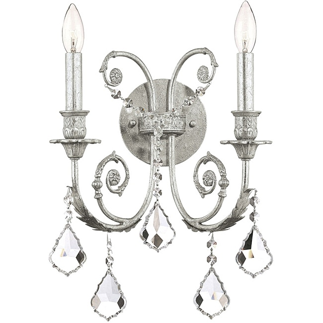 Crystorama Regis 2-Light Olde Silver Wall Sconce