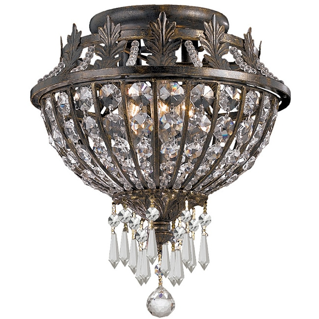 Crystorama Vanderbilt English Bronze 3-Light Flush Fixture