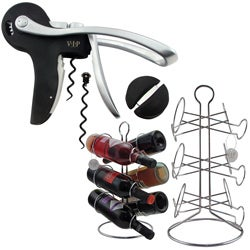 VIP Wine Accessories Opener Set with 6-Bottle Wine Rack