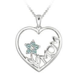 Glitzy Rocks Sterling Silver Diamond Accent Blue Topaz Heart Necklace