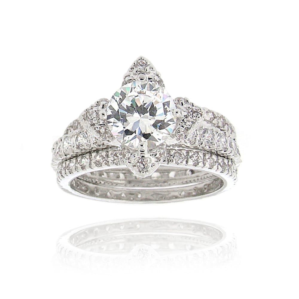 Icz Stonez Rhodiumplated 4 1/4ct TW Cubic Zirconia Bridal Ring Set