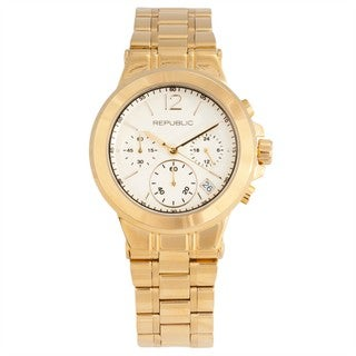 Republic Women's Goldtone Stainless Steel Runway Chronograph Watch