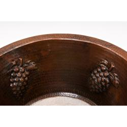 16-inch Round Copper Bar Sink with Grapes