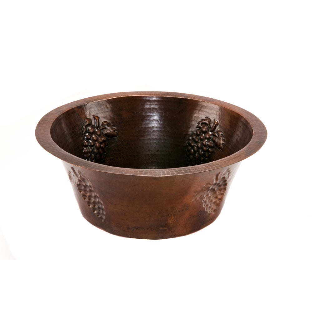 16-inch Round Copper Prep Sink with Grapes