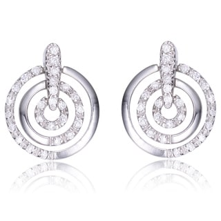 Collette Z Sterling Silver Clear Cubic Zirconia Triple Circle Earrings