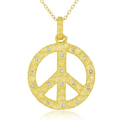 Collette Z Goldplated Sterling Silver Clear Cubic Zirconia Peace Sign Necklace