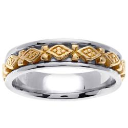 14k Two-tone Gold Men's Celtic Design Wedding Band