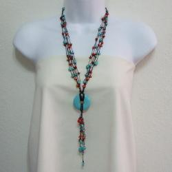 Red Coral and Turquoise Cotton Rope Necklace (Thailand)
