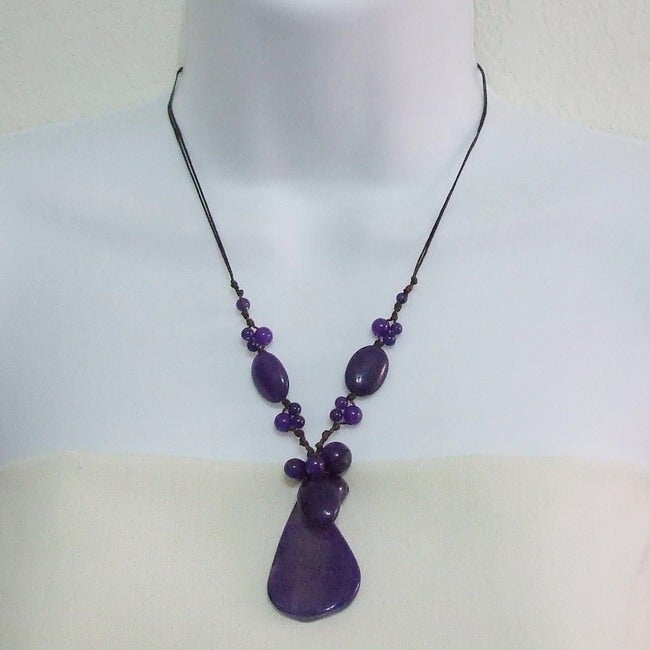Agate, Amethyst and Onyx Cotton Rope Necklace (Thailand)