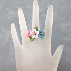 Pink, Blue and White Floral Blossom Leather Ring (Thailand)