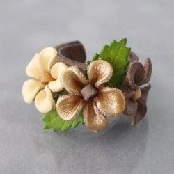 Goldtone Floral Blossom Leather Ring (Thailand)