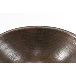 Small Oval Self-rimming Hammered Copper Sink