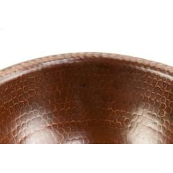 Small Round Self-Rimming Hammered Copper Bathroom Sink