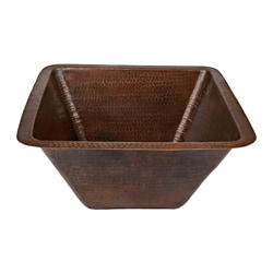 17-inch Square Hammered Copper Bar/ Prep Sink