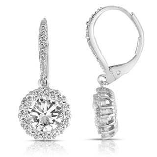 Collette Z Sterling Silver Clear Cubic Zirconia Round Halo Drop Earrings