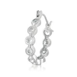 Collette Z Sterling Silver Clear Cubic Zirconia Hoop Earrings