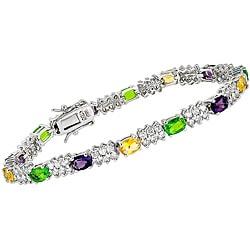 Collette Z Sterling Silver Multi-colored Cubic Zirconia Link Bracelet