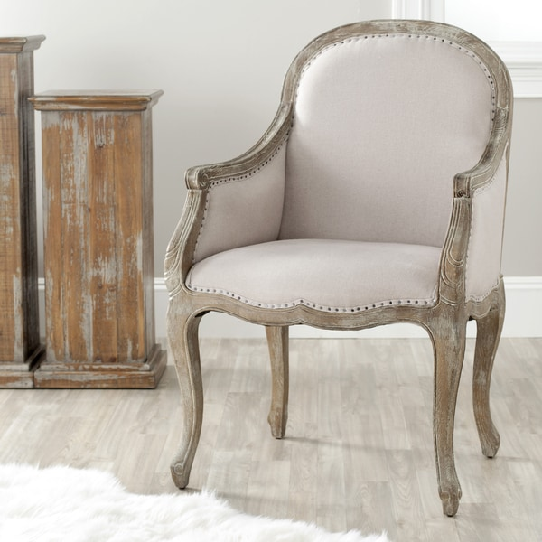 Safavieh Arles Beige/ Antiqued Oak Finish Nailhead Arm Chair