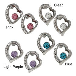 18k White Gold Overlay Crystal Heart Earrings