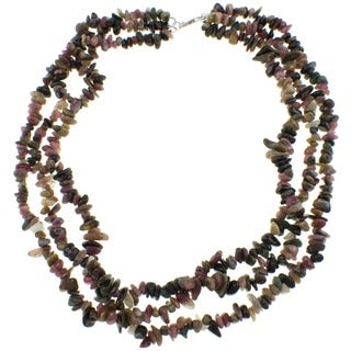Pearlz Ocean Tourmaline Triple Strand Chip Necklace