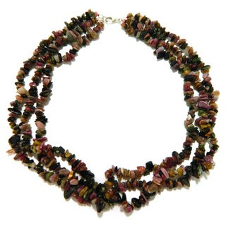 Pearlz Ocean Tourmaline Triple Strand Chip Necklace