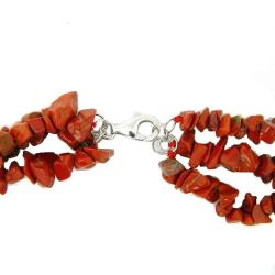 Pearlz Ocean Sterling Silver Red Jasper 3-row Chips Necklace