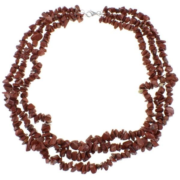 Pearlz Ocean Red Jasper Triple Strand Chip Necklace