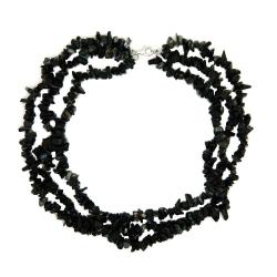 Pearlz Ocean Sterling Silver Black Onyx 3-row Chip Necklace