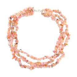 Pearlz Ocean Sterling Silver Pink Opal 3-row Chip Necklace