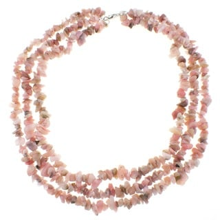 Pearlz Ocean Pink Opal Triple Strand Chip Necklace