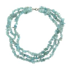 Pearlz Ocean Sterling Silver Aquamarine 3-row Chip Necklace