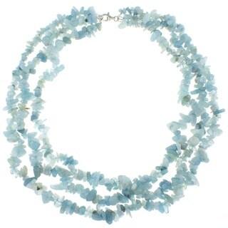 Pearlz Ocean Aquamarine Triple Strand Chip Necklace